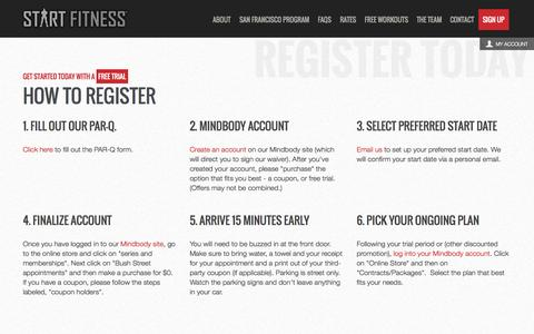 Screenshot of Signup Page startfitness.com - Start Fitness - captured Sept. 30, 2014