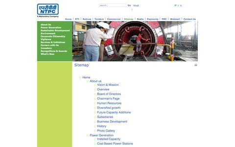 Screenshot of Site Map Page ntpc.co.in - Sitemap - captured Oct. 30, 2014