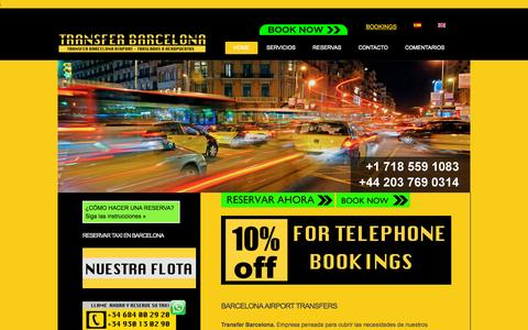 Screenshot of Home Page transfer-barcelona.es - Barcelona airport transfers, transfer Barcelona, taxi aeropuerto barcelona - captured Jan. 28, 2015