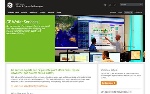Screenshot of Services Page gewater.com - Water System and Solutions Service Experts | GE Water - captured July 8, 2017