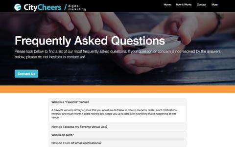 Screenshot of FAQ Page citycheers.com - CityCheers FAQ's - captured July 13, 2016