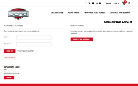 Screenshot of Login Page bergtoys.com - Customer Login - captured Nov. 21, 2018