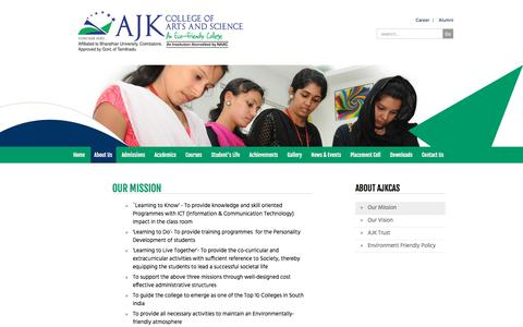 Screenshot of About Page ajkcas.com - Mission - AJK College of Arts and Science Coimbatore - captured Feb. 1, 2017