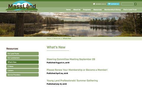 Screenshot of Press Page massland.org - What's New | MassLand - captured Oct. 1, 2018