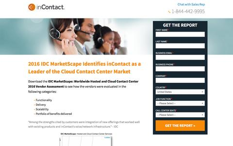 Screenshot of Landing Page incontact.com - 2016 IDC Marketscape: Worldwide Hosted and Cloud Contact Center 2016 Vendor Assessment - captured Aug. 18, 2016