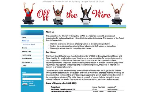 Screenshot of About Page awcps.org - Association for Women in Computing - Puget Sound - About Us - captured Oct. 4, 2014