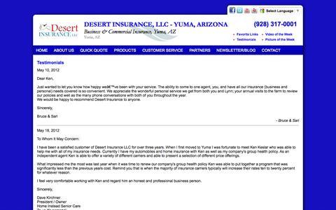 Screenshot of Testimonials Page desertinsagency.com - Testimonials - Desert Insurance, LLC - Yuma, Arizona - captured Oct. 5, 2014
