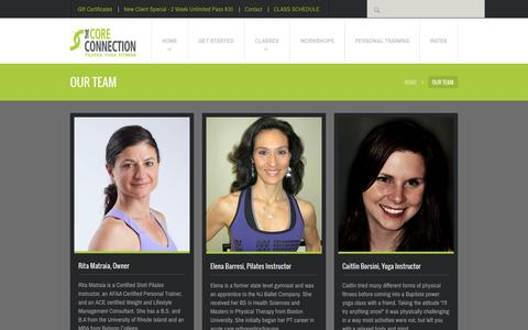 Screenshot of Team Page thecoreconnection.com - Our Experienced Fitness Team - The Core Connection - captured Oct. 7, 2014