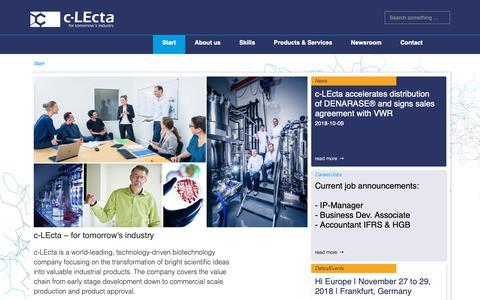 Screenshot of Home Page c-lecta.com - c-LEcta – Start - captured Nov. 17, 2018