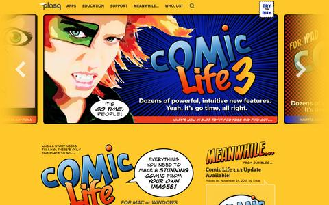 Screenshot of Home Page plasq.com - plasq.com | Home of Comic Life - captured Dec. 15, 2015