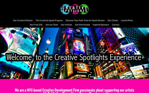Screenshot of Home Page creativespotlights.com - Creative Spotlights   We are a NYC-based Creative Firm Passionate About Developing Artists with Inspiration,  Promotion and Strategy - captured June 17, 2015