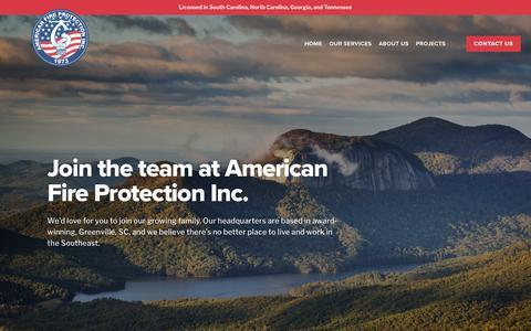 Screenshot of Jobs Page afirepro.com - Careers — American Fire Protection Inc. —Fire Sprinkler Installation, Design, and Inspection - captured Nov. 29, 2018