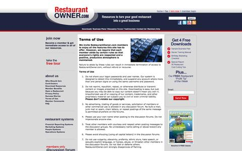 Screenshot of Terms Page restaurantowner.com - Terms of Use - captured Jan. 17, 2016