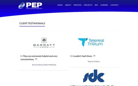 Screenshot of Testimonials Page pepgroup.co.uk - Testimonials · PEP - captured Oct. 4, 2016