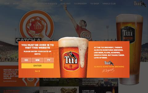 Screenshot of Home Page tui.co.nz - Tui - Home | Tui Beer | Always Something Brewing - captured Jan. 26, 2015
