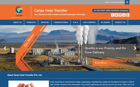 Screenshot of Home Page carpe.co.in - Manufacturer Heat Transfer Process & Heat Exchangers - captured Sept. 20, 2015
