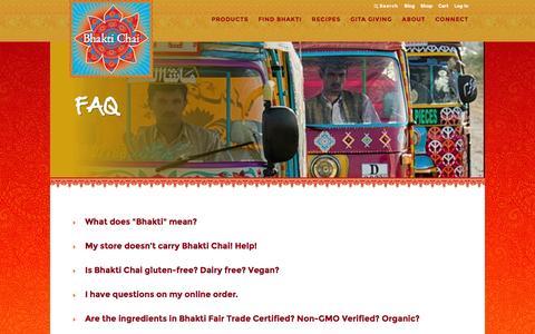 Screenshot of FAQ Page bhaktichai.com - FAQ | Bhakti Chai - captured Jan. 2, 2016