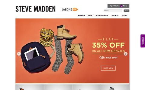 Screenshot of Home Page stevemadden.in - Shop for trendy|Men's and Women's footwear|Handbags|Steve Madden - captured Sept. 23, 2014
