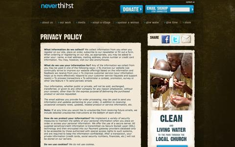 Screenshot of Privacy Page neverthirstwater.org - Privacy Policy | Neverthirst - captured Oct. 26, 2014