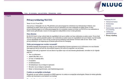 Screenshot of Privacy Page nluug.nl - Privacyverklaring NLUUG - captured Sept. 21, 2018