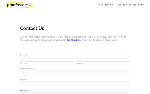 Screenshot of Contact Page proofreader.ie - Contact Proofreader — proofreader.ie - captured Sept. 30, 2018