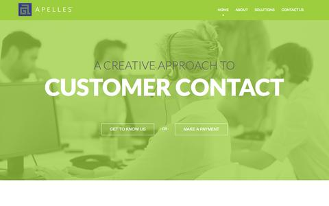 Screenshot of Home Page apellesnow.com - Apelles | A creative approach to customer life-cycle and debt collection services - captured Oct. 4, 2014