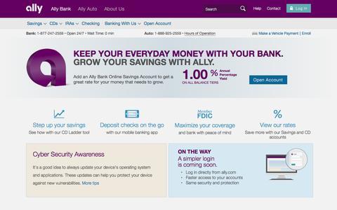 Online Banking, CDs, Money Market, Savings & Checking   Ally