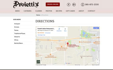 Screenshot of Maps & Directions Page proiettis.com - Directions | Proietti's Italian Restaurant - captured Aug. 27, 2017