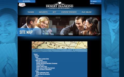 Screenshot of Site Map Page ddcaz.com - Casinos - Gaming - South Arizona - AZ - captured Oct. 5, 2014