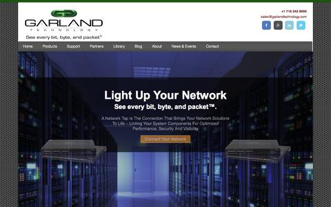 Screenshot of Home Page garlandtechnology.com - Garland Technology - Network Access Solutions Provider - captured Oct. 2, 2014