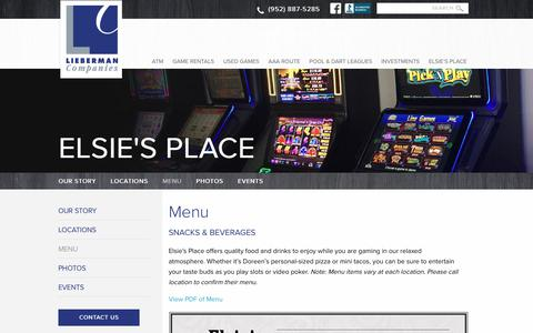 Screenshot of Menu Page liebermancompanies.com - Food and beverage menu for Elsie's Place in Illinois - captured June 29, 2018