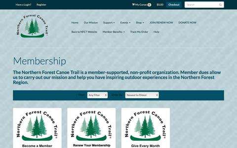 Screenshot of Signup Page northernforestcanoetrail.org - Membership - Northern Forest Canoe Trail - captured Sept. 20, 2018