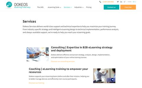 Screenshot of Services Page dokeos.com - Need a custom elearning suite? See all the services provided by Dokeos - captured Dec. 6, 2017