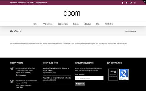 Screenshot of Case Studies Page dpom.co.uk - Our Clients - captured Sept. 25, 2015