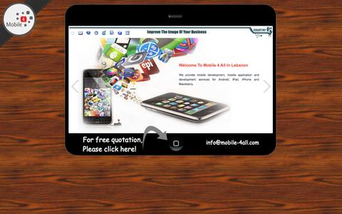 Screenshot of Home Page mobile-4all.com - Mobile Applications In Lebanon   Mobile-4all.com - captured Jan. 27, 2015