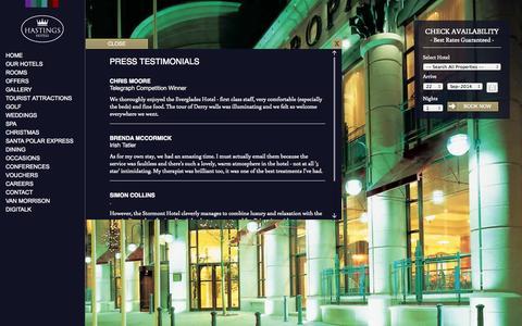 Screenshot of Testimonials Page hastingshotels.com - Testimonials - captured Sept. 19, 2014
