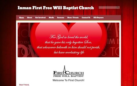 Screenshot of Home Page inmanchurch.com - Inman First Free Will Baptist Church - captured Feb. 10, 2016
