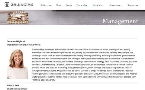 Screenshot of Team Page charlesandcolvard.com - Management   CHARLES & COLVARD - captured May 5, 2019