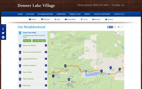 Screenshot of Maps & Directions Page donnerlakevillage.com - Truckee, CA Hotel Map - Donner Lake Village - captured Feb. 9, 2016