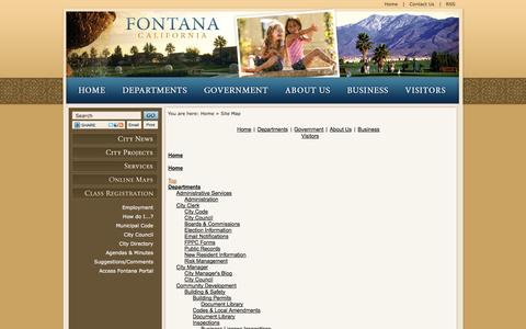 Screenshot of Site Map Page fontana.org - Fontana, CA - Official Website - captured Sept. 19, 2014