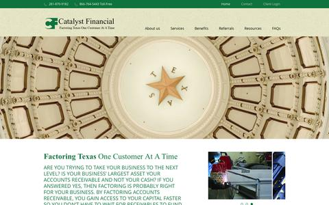 Screenshot of Home Page catfinco.com - Catalyst Financial Company, Houston, Texas - Factoring/Accounts Receivable Financing - captured Jan. 26, 2016
