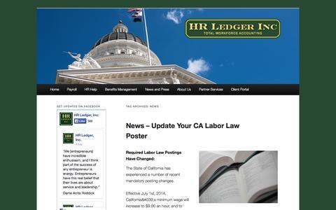 Screenshot of Press Page hrledger.com - News   HR Ledger Total Workforce Accounting - captured Sept. 26, 2014