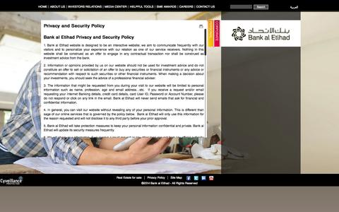 Screenshot of Privacy Page bankaletihad.com - Privacy and Security Policy | Bank al Etihad: The bright choice | Premium Personal and Corporate Banking - captured Sept. 30, 2014