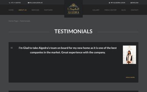 Screenshot of Testimonials Page algedra.ae - Client Testimonials | ALGEDRA Interior Design - captured Jan. 17, 2016