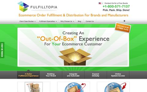 Screenshot of Home Page fulfilltopia.com - eCommerce Order Fulfillment > B2C and B2B Product Distribution + Fulfilment Services - captured Sept. 30, 2014