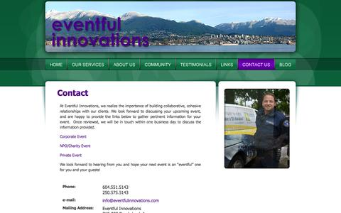 Screenshot of Contact Page eventfulinnovations.com - Eventful Innovations | Contact Us - Special Event Management, Design & Décor, Greater Vancouver, Okanagan, BC - captured Oct. 3, 2014