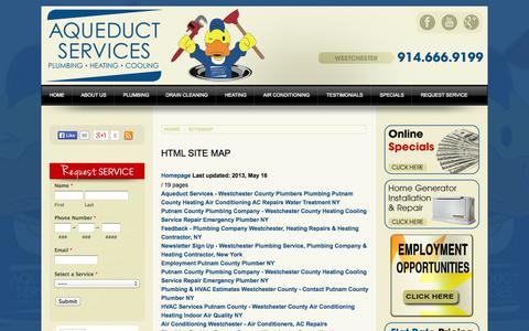 Screenshot of Site Map Page aqueductplumbing.com - Sitemap - Westchester Plumbing Company, Air Conditioning & HVAC Contractor, Westchester County, NY - captured Oct. 4, 2014
