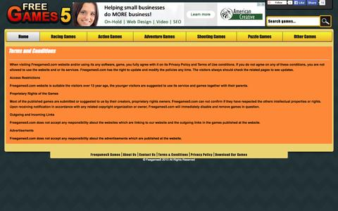 Screenshot of Terms Page freegames5.com - Terms and Conditions - Play Free Games Online at FreeGames5.com - captured Nov. 3, 2014