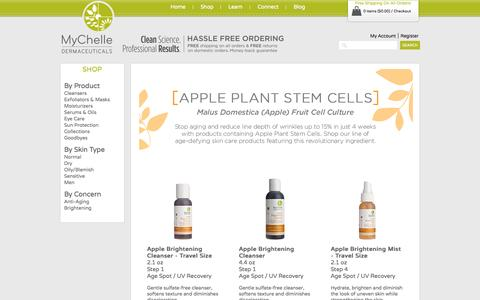 Screenshot of Home Page mychelle.com - Apple Plant Stem Cells - captured Oct. 3, 2015