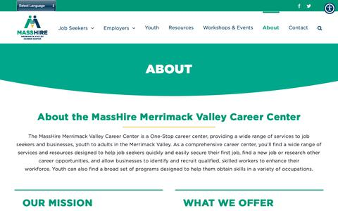 Screenshot of About Page masshiremvcc.com - About - MassHire Merrimack Valley Career Center - captured Dec. 4, 2018
